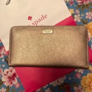 Kate Spade Rose Gold Leather Zip Around Wallet